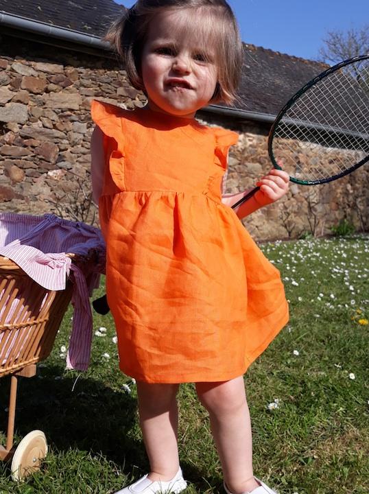Robe Scarlett dété lin orange sans m
